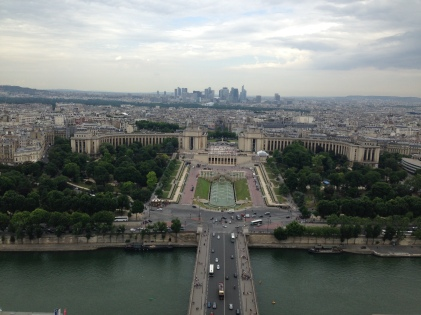 View from the Eiffel Tower overlooking the Seine.