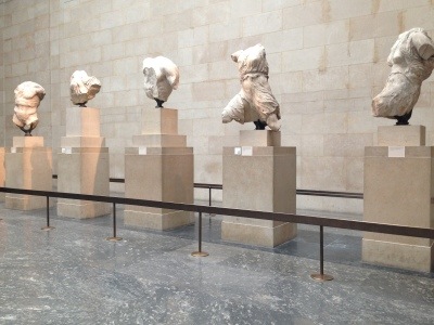 Ancient statues from the Parthenon exhibit.