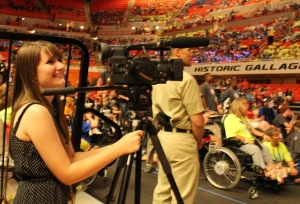 Meagan filming b-roll from the Oklahoma Special Olympics opening ceremony.
