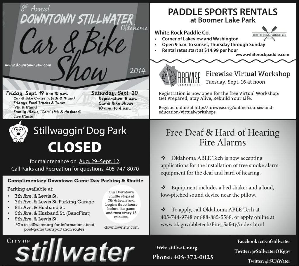 City of Stillwater Weekly Ad (Sept. 7, 2014) Designed a half-page, black and white ad to be regularly printed in the Sunday edition of the Stillwater NewsPress.