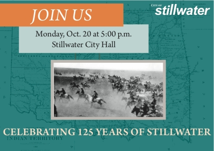 125 Years of Stillwater, Oklahoma Invitation Postcard Postcard designed to invite former Stillwater mayors to a City Council proclamation honoring Stillwater's 125th anniversary.