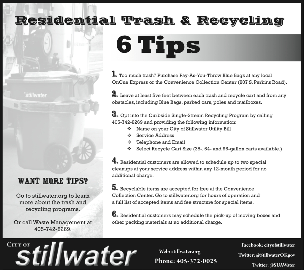 City of Stillwater Weekly Ad (Evergreen) An example of an evergreen half-page, black and white ad to be regularly printed in the Sunday edition of the Stillwater NewsPress.